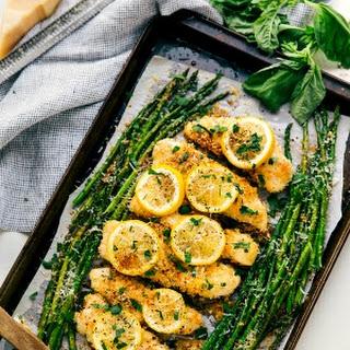 One Pan Lemon Parmesan Chicken and Asparagus