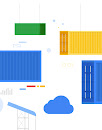 An illustration of shipping containers representing Kubernetes containers and an illustration of a cloud