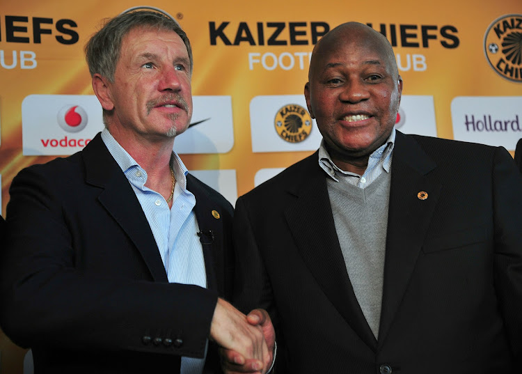 Stuart Baxter and Kaizer Motaung during the press conference at Naturena , Johannesburg on June 02 2015.