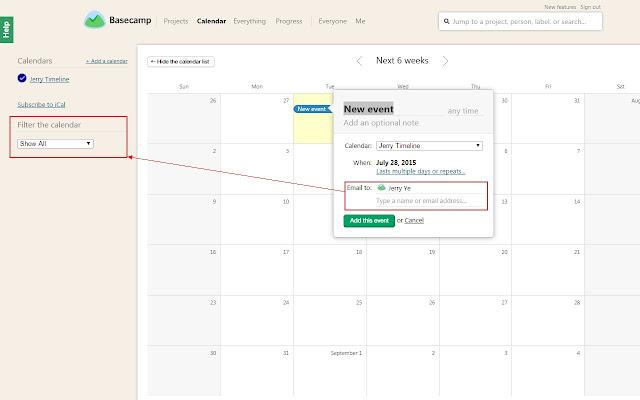 Basecamp Calendar Events Filter
