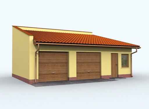 projekt G85 szkielet drewniany garaż dwustanowiskowy z pomieszczeniami gospodarczymi