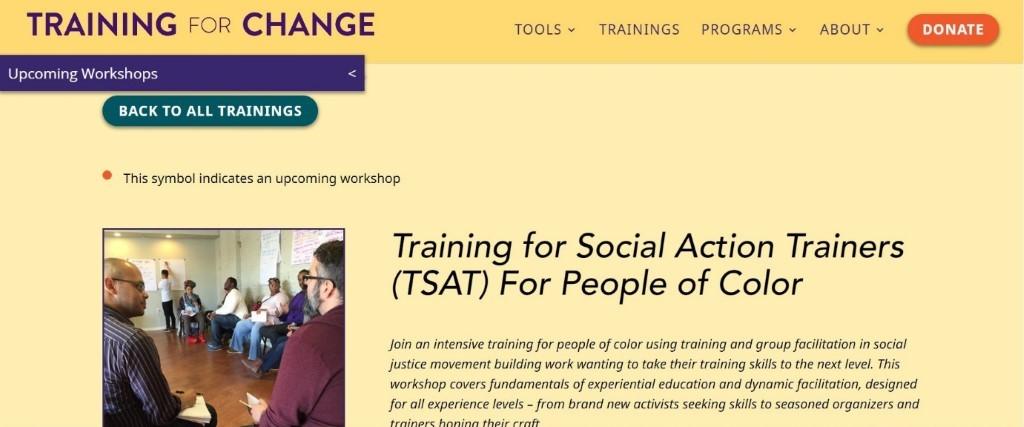 Training for change workshop for activists. black entrepreneurs