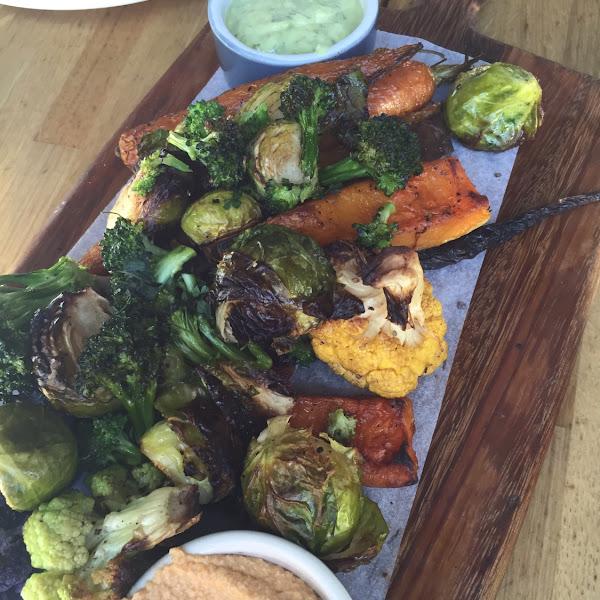 Roasted Vegetable Platter, w/ cashew pimento dip.