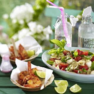 Caprese Pasta Salad with Spicy Shrimp.