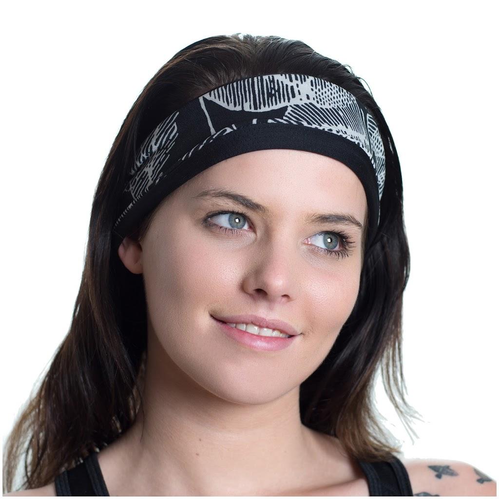 Girl wearing patterned sports headband