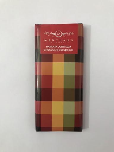 chocolate mantuano oscuro 70% con naranja confitada 80gr