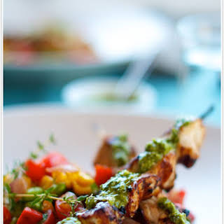 Summer Succotash with Grilled Chicken Skewers & Chimichurri.