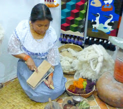 Photo: In Artesania Gran Condor, textile artist demonstrates the steps in making traditional wool weavings