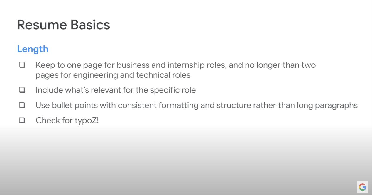 Google Resume Basics: Lengths