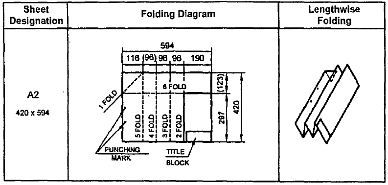 Folding of drawing sheet for filing or binding