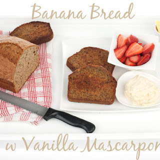 Grilled Banana Bread w Vanilla Mascarpone & Maple Syrup