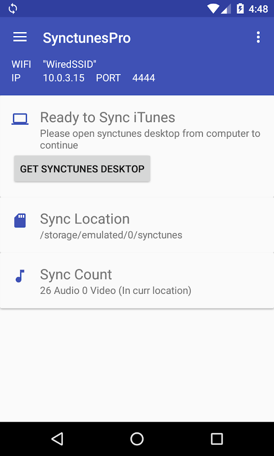 SynctunesF: iTunes to android- screenshot