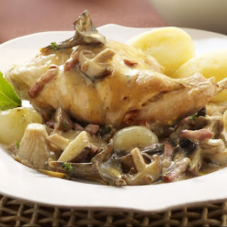 Rabbit Fricassee With Bacon, Pearl Onions and Mushrooms.
