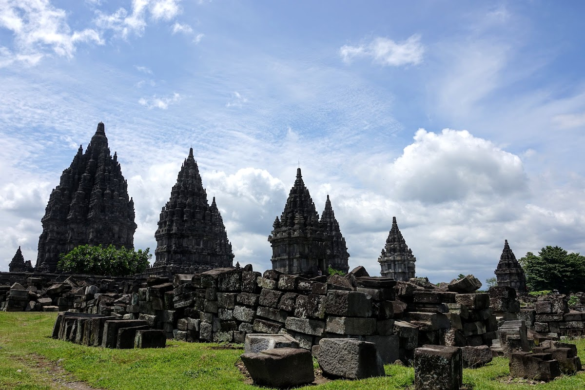 Indonesia. Yogyarkarta Pramantan Temple. Temples with restoration rocks