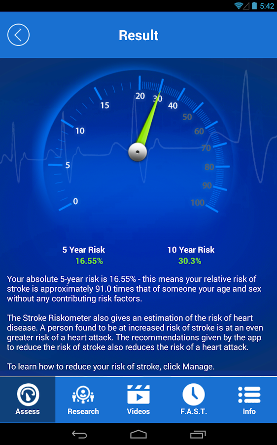 Stroke Riskometer- screenshot