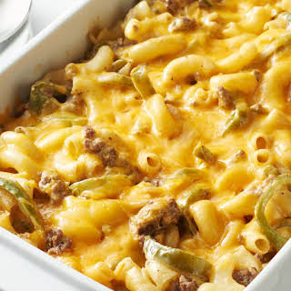 Lightened-Up Philly Cheese Steak Mac and Cheese Bake.