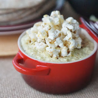 [RECIPE] Healthy Creamy Corn & Avocado Dip with Chipotle Popcorn.