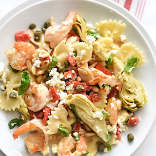 Shrimp Pasta with Roasted Red Peppers and Artichokes