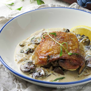 Chicken Thighs with Mushrooms and Tarragon Cream.
