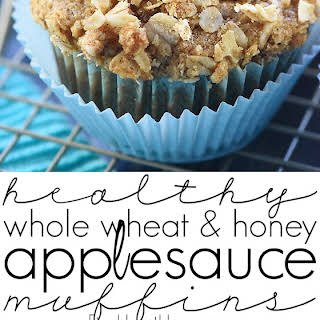Healthy Whole Wheat & Honey Applesauce Muffins.