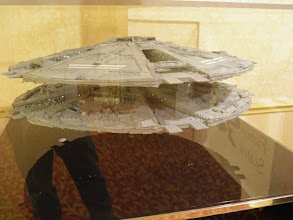 Photo: Now the contest models.  Large scale Basestar to start us off.