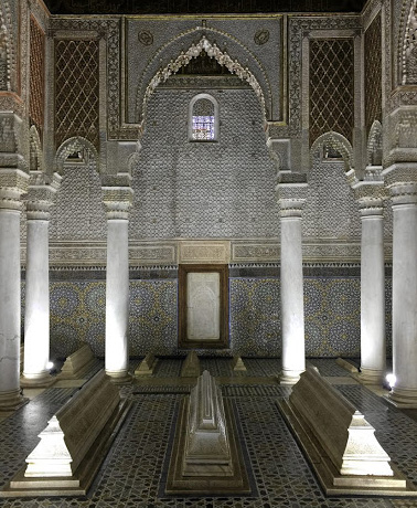 The interior of the Saadian Tombs