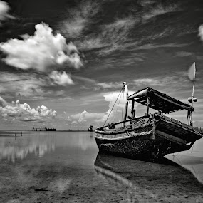 Alone by Pham Trieu - Landscapes Cloud Formations ( becloud, of emptiness, ship, shallow sea, boat )