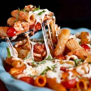 Grilled Chicken Caprese Pasta.