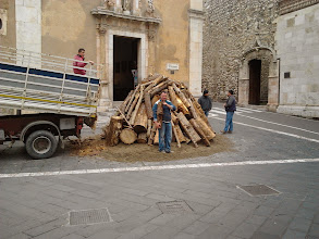 Photo: Preparing the Christmas fire