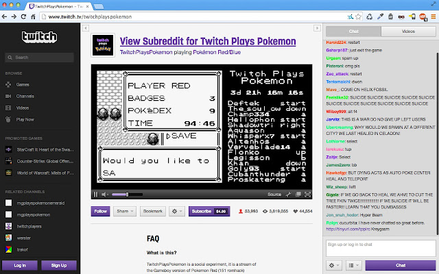 Twitch Plays Pokemon Chat Fix
