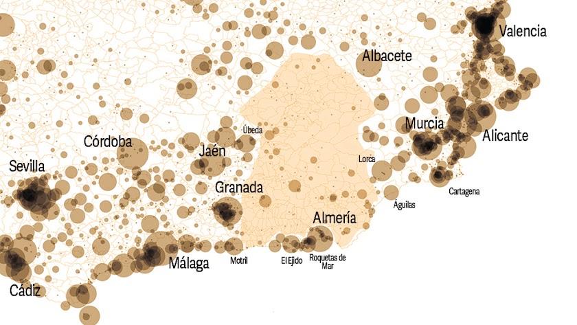 El gran vacío del sureste. Población de las entidades urbanas.