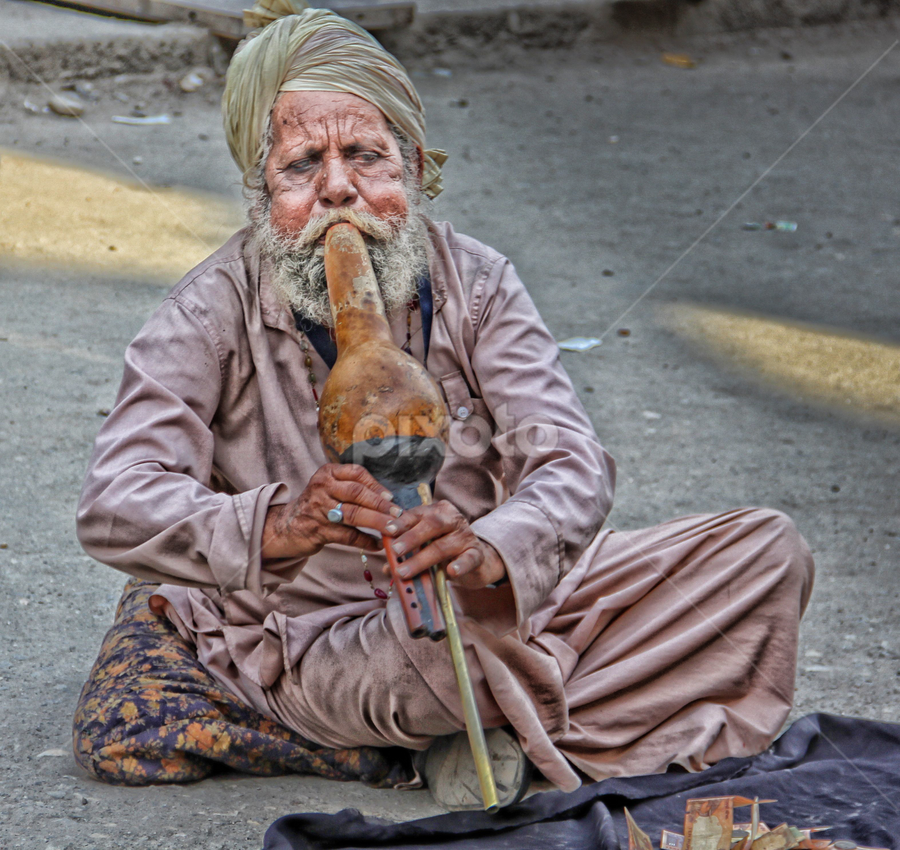 The Flute player  by Amrita Bhattacharyya - People Street & Candids ( street candid, flute, musician, india, man, entertainer, portrait, , Travel, People, Lifestyle, Culture )