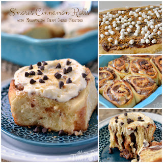 S'mores Cinnamon Rolls with Marshmallow Cream Cheese Frosting.