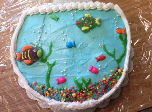 This Is A Dinette Cake With Buttercream Frosting. One Decorative Option We Give My Students Is To Make Them A Fish Bowl. I'm Not Kidding When I Say This Cake Tastes Awesome And It's Super Easy!