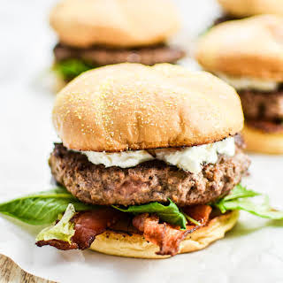 Bacon Goat Cheese Burgers with Honey and Arugula.
