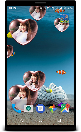 Bubble photo live wallpaper with aquarium ss2