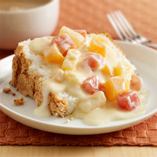 Tropical Fruit Sauce over Angel Food Cake