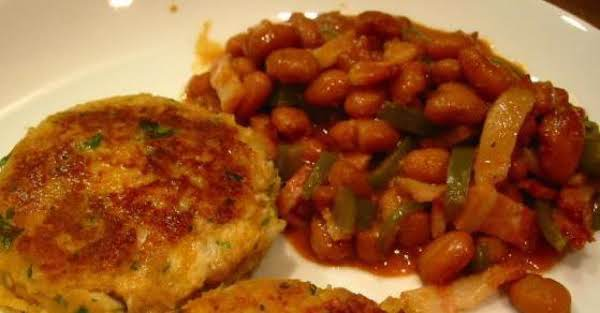 Codfish Cakes And Baked Beans