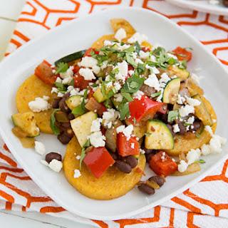 Mexican Baked Polenta with Salsa Beans & Sautéed Veggies.