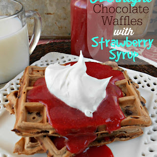Overnight Chocolate Waffles with Strawberry Syrup