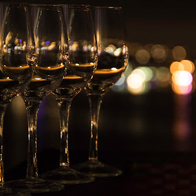Celebrations!!!  by Clarissa Human - Artistic Objects Glass ( lights, patterns, night lights, wine glass, reflections, low light, night shot, bokeh,  )