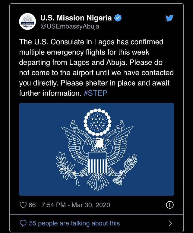 US begins evacuation of citizens from Nigeria over COVID-19 pandemic