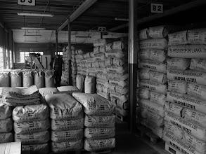 Photo: Bags of tea awaiting shipment from the tea factory. Dalhousie Sri lanka