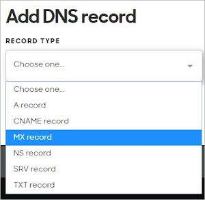 MX record is selected as the Record Type.