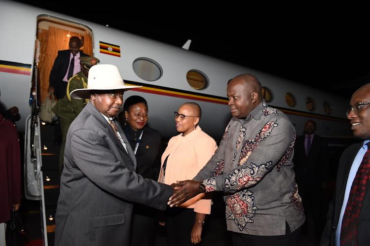Mozambique's President Filipe Nyusi arrives at the OR Tambo International Airport.