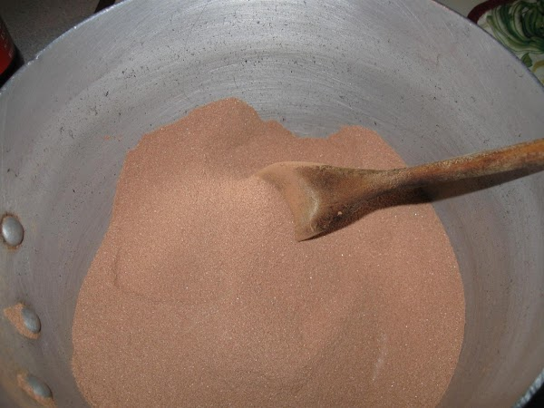 In med-lg. pot (with heat OFF) add the sugar, salt, and cocoa powder and...