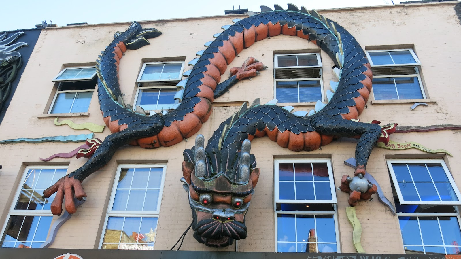 The dragon climbing the building at Camden Market