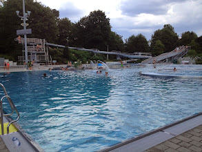 Photo: view of the 25 meter pool, 2 wave pools and 2 slides
