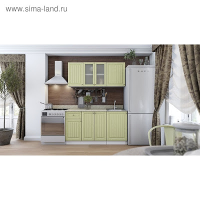 Кухня Нова 1.5 м МДФ, Белый/Фисташка