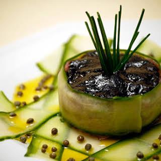 Tuna Tartare on Marinated Cucumbers.
